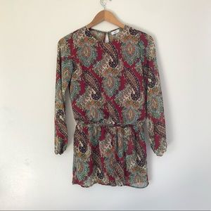 Lucca long sleeve paisley print open back romper S